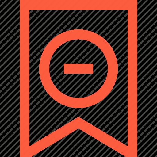 banner, bookmark, flag, minus, remove, subtraction icon