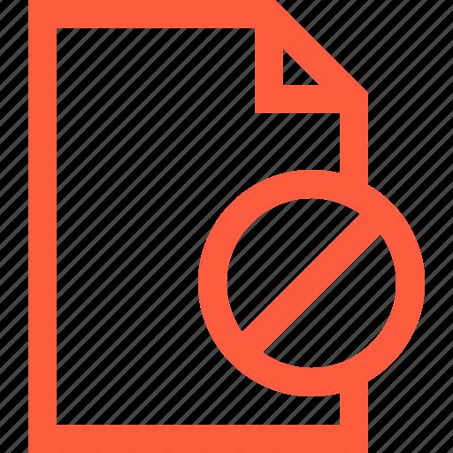 access, block, discard, doc, document, file, reject icon