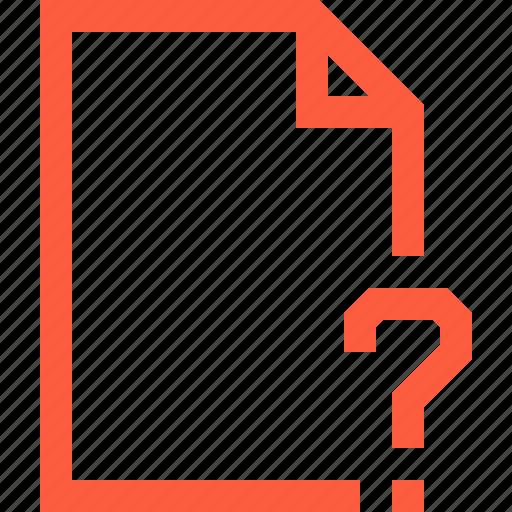 ask, doc, document, faq, file, question, unknown icon
