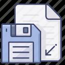 diskette, document, file, save icon