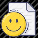 document, file, paper, smile icon