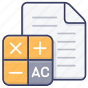 accouting, balance, calculate, file icon