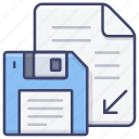 diskette, document, file, save icon