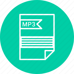 document, extension, file, format, mp3, type icon