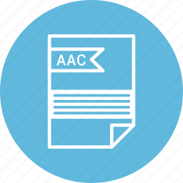 aac, document, extension, file, format, type icon