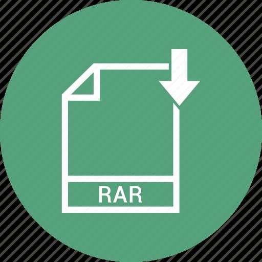 document, extension, file, rar icon