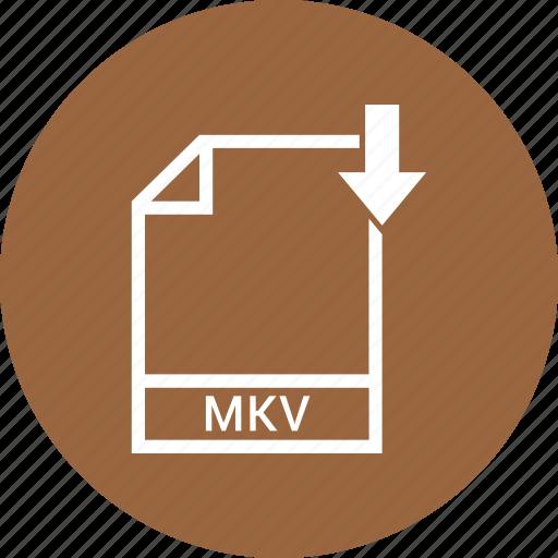 document, extension, file, mkv icon