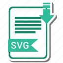document, extension, file, format, svg file icon