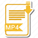 document, extension, folder, mp4, paper icon