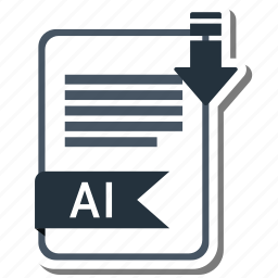 ai file, document, extension, folder, paper icon