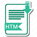 document, extension, folder, htm, paper icon