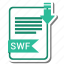document, extension, folder, paper, swf