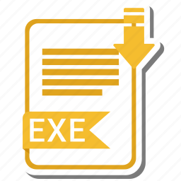 document, exe, extension, folder, paper icon