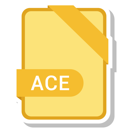 ace, extension, file, format, paper icon