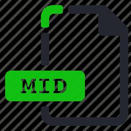 audio, extension, file, mid icon