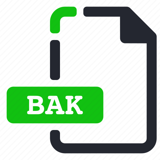 bak, extension, file, system icon