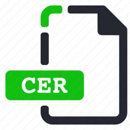 cer, extension, file, internet icon