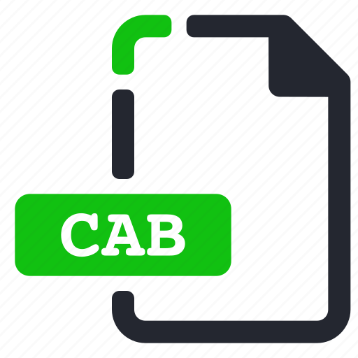 cab, extension, file, system icon