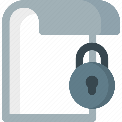 document, extension, file, folder, locked, paper icon
