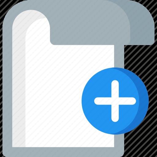 add, document, extension, file, folder, paper, plus icon