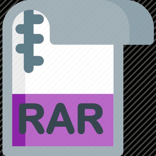 document, extension, file, folder, paper, rar icon
