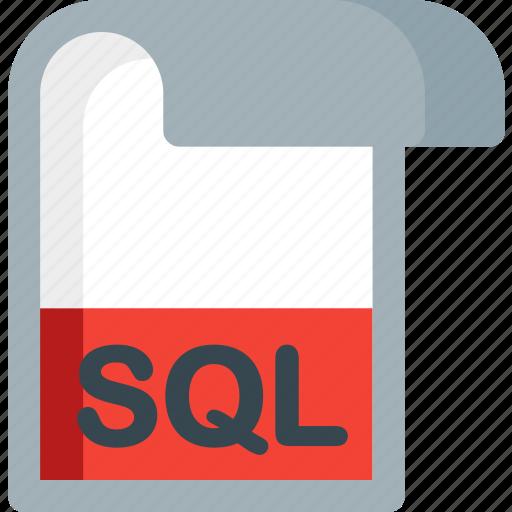 document, extension, file, folder, paper, sql icon