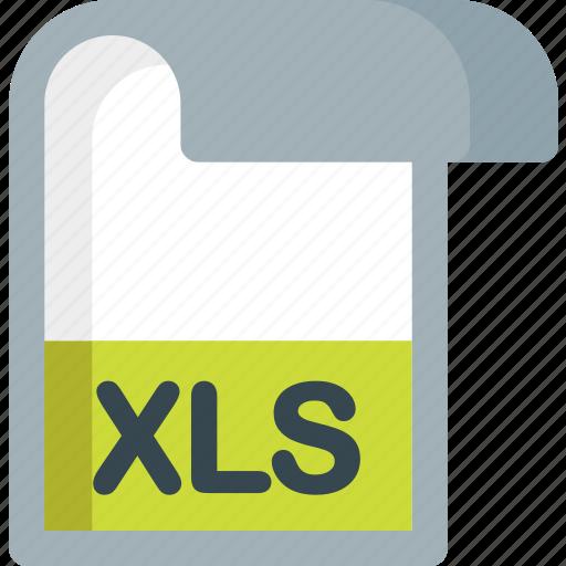 document, extension, file, folder, paper, xls icon