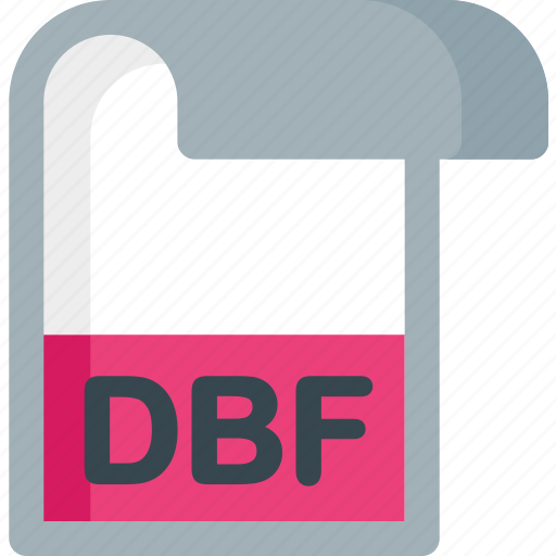 dbf, document, extension, file, folder, paper icon