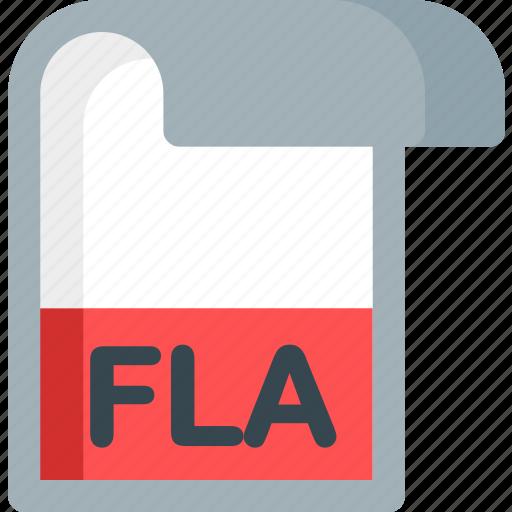 document, extension, file, fla, folder, paper icon
