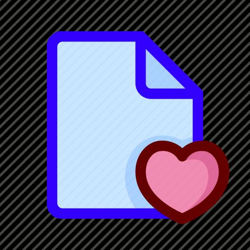 document, favorite, file, love icon