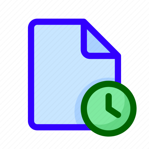 clock, document, file, time icon