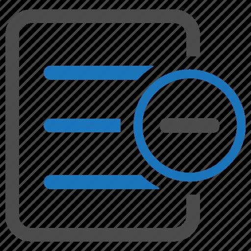 document, minus, remove, text icon