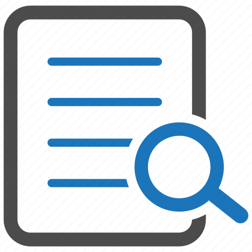 document, find text, magnifier, page, scan, search file, zoom icon