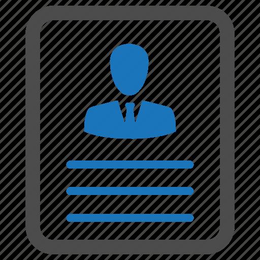account, cv, document, male, man, profile, user icon
