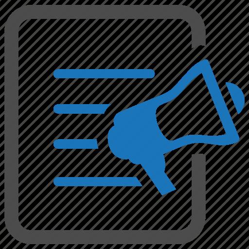 advertising, article, megaphone, news, press release, publication, speaker icon