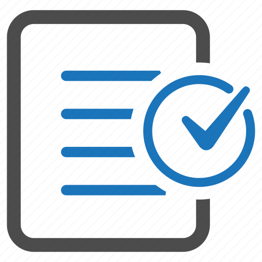 checkmark, complete, document, success, text icon