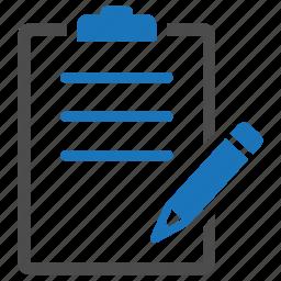 clipboard, pencil, track, write icon