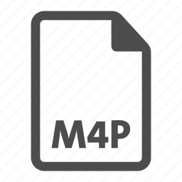 document, extension, file, format, m4p, video icon