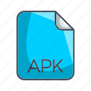 apk, extension, file, system file format icon