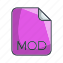 extension, file, mod, video file format icon