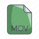extension, file, mov, video file format icon