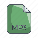 archive file format, extension, file, mp3 icon