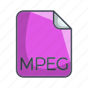 extension, file, mpeg, video file format icon