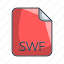 extension, file, swf, video file format icon