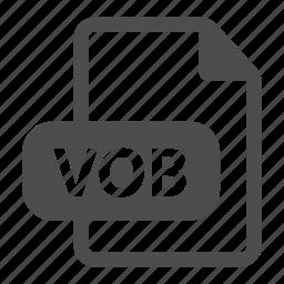 document, extension, file, format, media, vob icon