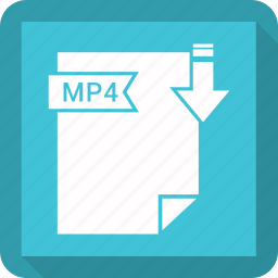 document, extension, format, mp4, paper icon