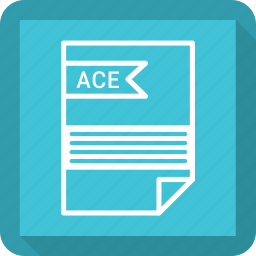 ace, document, extensiom, file, file format, paper icon