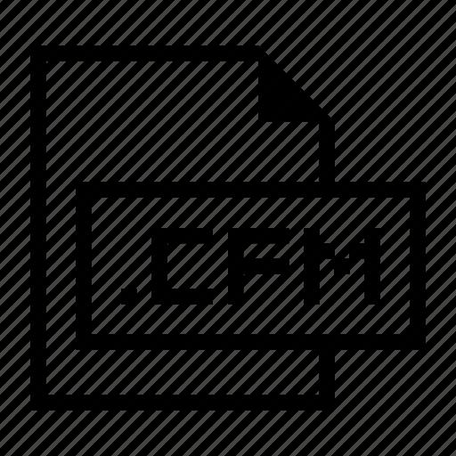 cfm, document, extension, file, format icon