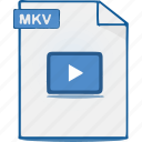 mkv, format, video, file, movie icon