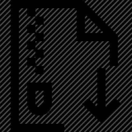 arrow, compressed, decrease, document, down, file, zipper icon